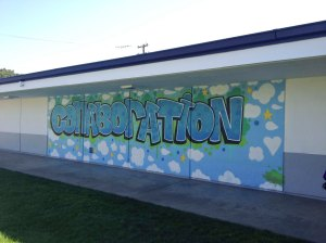 Colorful murals like this one reinforce the school's core values on campus.