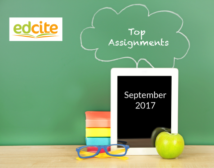 Image is a green background with light wood table; blue and yellow eyeglasses on table in front of orange, yellow, blue, and red books; green apple; tablet; Edcite logo in white, orange, green; 'Most Popular Assignments' written on green background; 'September2017' written on tablet